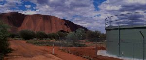 Uluru National Park and water storage tank